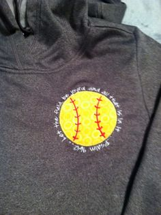 Softball applique with Bible verse