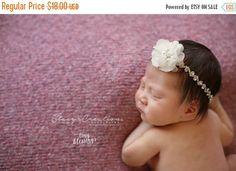 SALE Diana Newborn Rhinestone Headband Gold Finish Rhinestone Tieback with ivory Flower Halo Baby Crown Baby Headband Photo Prop Newborn Hea