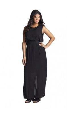 Plus Size Mynt 1792 Belted Sleeveless Maxi Dress Plus Size Black Dresses, Plus Size Outfits, Curvy Girl Fashion, Plus Size Fashion, Lil Black Dress, Beautiful Maxi Dresses, Dress With Cardigan, Plus Size Beauty, Clothing Patterns