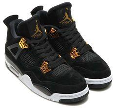 """NIKE AIR JORDAN 4 RETRO """"ROYALTY"""" [BLACK / METALLIC GOLD-WHITE] 308497-032 Tenis Jordan Retro, Zapatillas Jordan Retro, Nike Air Jordan Retro, Jordan 4, Jordan Shoes, Latest Sneakers, Sneakers Nike, Me Too Shoes, Men's Shoes"""