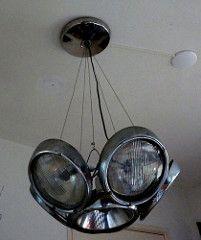 Vehicular Furnishings and Automotive Decor-VW Beetle headlight chandelier