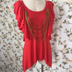 """☀️SALE☀️ Red Ruffle Top Attached Beaded Necklace XUC: approx highest point length 21""""; approx longest point length 28""""; approx relaxed bust 34""""; color is red-orange XOXO Tops"""