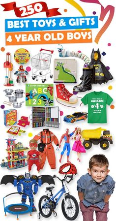 Parents, save this list! See over 250 great gift ideas for 4 year old boys.