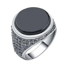 Men's elegant silver plated round black resin onyx ring with dark cubic zirconia | New & hot trending men's ring jewelry | Finger garment.  #Mens #Rings #Elegant #Things