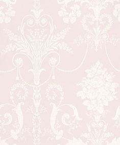 Josette Amethyst (3547805) - Laura Ashley Wallpapers - An ornate and elegant damask, featuring glamorous chandeliers and romantic rose bouquets in the stylish combination of white and amethyst. Other colour ways available. Please request a sample for true colour match.