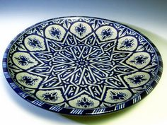 hand painted pottery plate from Fez, Morocco