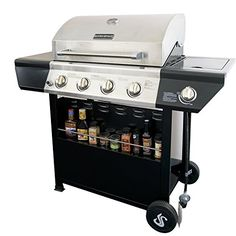 SUPER SPACE 60,000 BTU 4 Burner Barbecue BBQ Gas Grills Stainless Steel Patio…