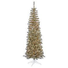 Vickerman Colorful Pencil Champagne Christmas Tree with 250 Clear Mini Lights 55Feet -- Check this awesome product by going to the link at the image.