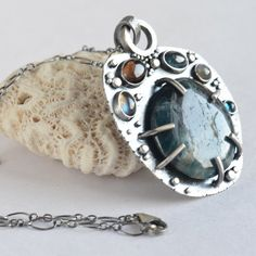 apatite pebble labradorite and sapphire sterling by laurenmeredith