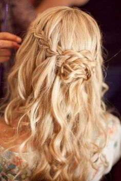 Waterfall Braided Wedding Hairstyles(Prom Hair With Flowers) Half Up Wedding Hair, Wedding Hair And Makeup, Hair Makeup, Wedding Hairstyles For Long Hair, Down Hairstyles, Pretty Hairstyles, Hairstyle Wedding, Prom Hairstyles, Hairstyle Ideas