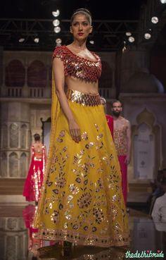 Abu Jani Sandeep Khosla - Gold Gota Blouse and Yellow Lehenga with Floral Gota Work - BMW India Bridal Fashion Week 2015 Bridal Mehndi Dresses, Mehendi Outfits, Indian Bridal Lehenga, Pakistani Outfits, Fashion Week 2015, Bridal Fashion Week, Fashion Weeks, Women's Fashion, Indian Designer Outfits