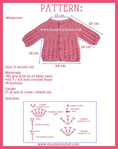 Baby crochet cardigan or sweater with detailed instructions.