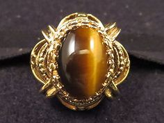 Vtg Whiting & Davis Signed Ornate Tiger's Eye Ring Gold Tn Open Work Setting Sz7