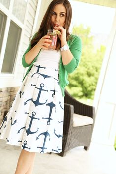 Anchor skirt (pleated) with green sweater | Dress Corilynn