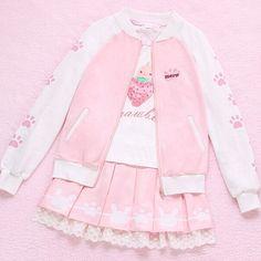 Harajuku Pink Paw Print Coat