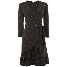 Warehouse Cherry Spot Frill Dress (3.105 RUB) via Polyvore featuring dresses, women dresses, v neck ruffle dress, embellished mini dress, embelished dress, polka dot mini dress и v neck dress