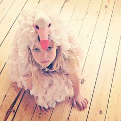 Today Evangeline wanted to dress like a flamingo. Then she wanted to be an eagle. Then a sparrow. Then a humming bird. Then a dog.