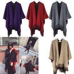 Women's Blanket Oversized Scarf Wrap Shawl Knit Wrap Poncho Scarf Tassel Fringe #Unbranded #Pashmina