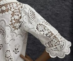 Edwardian Clothing at Vintage Textile: Lace trimmed dress Irish Crochet, Crochet Lace, White Tea Dresses, Romanian Lace, Blazers, Edwardian Clothing, White Beige, Lace Making, Cutwork
