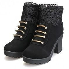 I need these!!!! Artificial Leather Lace Bead Metal Ankle Zipper Platform Chunky Heel Boots