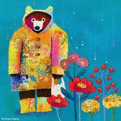 rainy day(embroidery,刺繍イラストレーション)