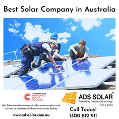 Ads Solar provides a range of solar power products and services to residents and businesses across Sydney. As one of the leading solar companies in Sydney, we take great pride in helping people reduce their energy bills and take advantage of sustainable solar power solutions. Call us today for solar system price: 1300 812 911 Solar Panel Installation, Solar Panels, Solar Companies, Energy Bill, Renewable Energy, Solar System, Solar Power, Nice Tops, Helping People