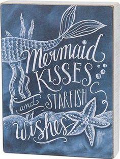 Mermaid Kisses and Starfish Wishes - Chalk Board Wood Block Sign - Primitives by Kathy from California Seashell Co - Blue Coastal Wall Art - Navy Beach Decor Mermaid Bathroom, Mermaid Room, Mermaid Artwork, Mermaid Sign, Mermaid Sayings, Mermaid Board, Deco Marine, Mermaid Kisses, Poster S