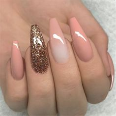 """If you're unfamiliar with nail trends and you hear the words """"coffin nails,"""" what comes to mind? It's not nails with coffins drawn on them. Although, that would be a cute look for Halloween. It's long nails with a square tip, and the look has. Cute Acrylic Nails, Acrylic Nail Designs, Glitter Nails, Cute Nails, Pretty Nails, Nail Art Designs, Nails Design, Pink Glitter, Cute Summer Nail Designs"""