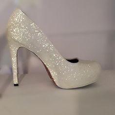 a470f14b77 WOMENS SPARKLY HIGH LOW HEELS WEDDING GLITTER SHOES BRIDE COMFORTABLE