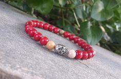 #Mens #Silver #SKULL #Bracelet - #Beaded #Red #Coral & #Mokait #jasper - #Nature #Gemstone, #Men #Tribal #Meditation #Protection #Bracelet, #Free #Shipping $26.00