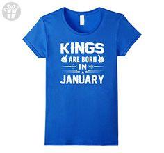 Womens Kings Are Born In January Birthday Gift T Shirt Bday T-Shirt Large Royal Blue - Birthday shirts (*Amazon Partner-Link)