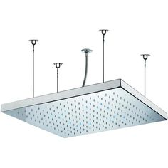 """Rain Therapy Stainless Steel 19-5/8"""" Square Shower Head Wire Mounted With LED Lights - Charade PS 29481"""