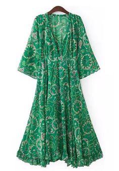 Green Long Bohemian Dress