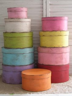 colorful distressed hat boxes.  A fun Chalk Paint® by Annie Sloan project.
