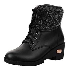 Women's Trendy Waterproof Lace Up Faux Fur Lined Mid Wedge Heel Platform Ankle Winter Snow Boots
