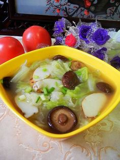Cabbage Soup with Chinese Yam and Black Mushrooms is a simple, healthy vegetable soup.