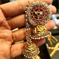 """322 Likes, 15 Comments - South India Jewels (@southindia_jewels) on Instagram: """"Gorgeous earrings from @psatyanarayansons"""""""