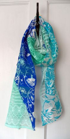Hand screen printed blue silk and lace scarf by Holly Eden
