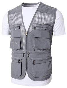 Mens Active Work Utility Hunting Travels Sports Mesh Vest with Pockets Mens Big And Tall, Big & Tall, Mens Work Pants, Fishing Vest, Fly Fishing, Cargo Vest, Sports Vest, Vest Jacket, Work Wear