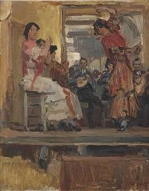 Artwork by Isaac Israëls, Café Chantant with the dance group la Feria, Paris, Made of oil on canvas