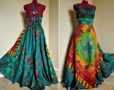 EverGreen - Long African Maxi Dress, Ooak Tribal Goddess Gown, Rich Summer colors, Best for - M, L, maybe xL. $165.00, via Etsy.