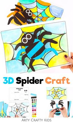 Looking for 3D spider crafts for kids to make at home or preschool / at school this fall? These Halloween spider crafts for kids are fun for children   easy to make with our printable Halloween craft templates! Get printables   videos   other easy Halloween crafts for kids ideas here! Printable Halloween Crafts for Kids Preschool Spiders | Easy Paper Halloween Crafts for Kids Spider | Kindergarten / Preschool Halloween Crafts | Simple DIY Halloween Crafts for Kids  #SpiderCrafts… Spooky Halloween Crafts, Fun Halloween Games, Halloween Art Projects, Halloween Activities For Kids, Halloween Spider, Crafts For Kids To Make, Halloween Kids, Preschool Halloween, Paper Halloween
