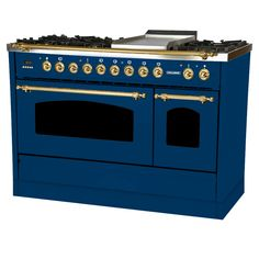 Hallman 48 in. Double Oven Dual Fuel Italian Range True Convection, 7 Burners, Griddle, LP Gas, Brass Trim in - The Home Depot Stainless Steel Griddle, Stainless Steel Appliances, Kitchen Appliances, Kitchen Pantries, Refinish Kitchen Cabinets, Kitchen Cabinet Doors, Graphite, Drawer Design, Luxury Kitchens