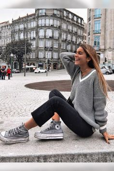 Outfit for the fall. What outfit would you add to your shopping list? Cre - Combine Look Outfits With Converse, Tomboy Outfits, Cute Casual Outfits, Simple Outfits, Winter Outfits, Fashion Outfits, Women's Casual, Style Fashion, Looks Style