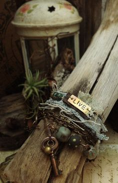 Always an inspiration for any designing - Altered Alchemy, Mixed Media Jewelry by Luthien Thye - inspiration for bead soup Jewelry Crafts, Jewelry Art, Beaded Jewelry, Jewelry Bracelets, Jewelery, Jewelry Accessories, Handmade Jewelry, Jewelry Design, Wrap Bracelets