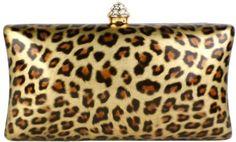 $39.99 Amazon.com: Untamed Golden Leopard Print Rhinestone Closure Rectangle Hard Case Baguette Evening Clutch Purse w/Detachable Chain