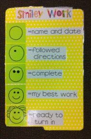 """""""Smiley Work"""" students draw a small smile on a corner of their paper and add details to show they have completed tasks. She also has one for writing!"""