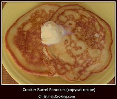 ChristineIsCooking.com: Cracker Barrel Pancakes (copycat recipe)  Cracker Barrel Pancakes (copycat recipe)...haven't tried yet, but reviewers say this IS THE BEST pancake recipe they've tried on pinterest...out of many! Also comments about it being almost same as 100-year-old recipes...SO, I'm pinning because of that.