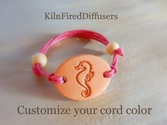 SEAHORSE Aromatherapy Bracelet or Charm by KilnFiredDiffusers