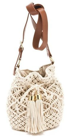 tory burch claire crocheted bucket bag - Crochet Clothing and Accessories Crochet Handbags, Crochet Purses, Crochet Bags, Crocheted Lace, Tory Burch, Bucket Bag, Bucket Backpack, Macrame Purse, Macrame Knots